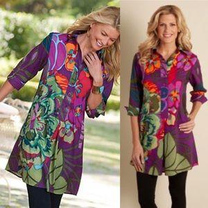 Soft Surroundings Purple Tropical Floral Tunic Top